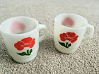 2 Fire King Milk Glass Mugs COFFEE CUPS Red Poppy Flower Stackable No Stains VTG