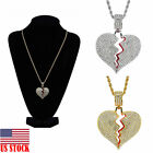 US Gold Broken Heart Pendant 3mm 24 Stainless Steel Rope Chain Necklace