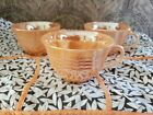 3 Vintage Fire King Three Band Peach Lusterware Mid Century Coffee Cups
