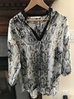 Zara Blouse Small NWOT Animal Print Grey Black Tunic Silky Long Sleeve Pullover