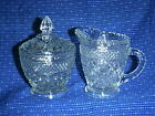 WEXFORD Glass Diamond Design Creamer Pitcher and Sugar Bowl with Lid Set - MINT