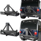 Hooke Road Black Rear Bumper w/ Tire Carrier Fit Jeep Wrangler YJ TJ 1987-2006