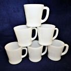 6 Fire KIng Anchor Hocking White Coffee Mugs made in USA Restaurant Ware