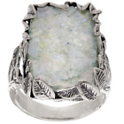 OR PAZ STERLING SILVER LEAF ROMAN GLASS OXIDIZED ELONGATED RING SIZE 5 QVC