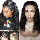 Glueless Lace Front Wig Deep Wave Virgin Indian Human Hair Full Lace Wigs #1b mr