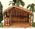 BAMBOO WOOD MOSS NATIVITY VILLAGE STABLE FOR USE w 5 FONTANINI