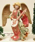 FONTANINI DEPOSE ITALY 9HANGING ANGEL w BANJO NATIVITY VILLAGE CERAMIC TONE NEW