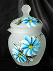 VINTAGE FENTON FROSTED SATIN GLASS HAND PAINTED COVERED DISH POWDER JAR