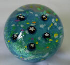 Robert Held Art Glass Paperweight Blue Floral Design Vancouver BC