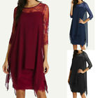Women New Fashion Chiffon Overlay Three Quarter Sleeve Lace Dress Oversize S-5XL