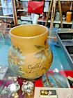 Authentic Galle Art Cameo GlassYellow Brown Vase with Light Blue Floral Detail
