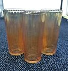 Set of 3 Very Nice and Heavy Ribbed Marigold Luster Iridescent Tumblers