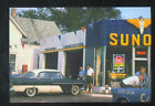 SUNOCO SERVICE GAS STATION ADVERTISING POSTCARD COPY OLD CARS OIL GASOLINE