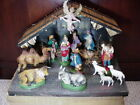 FINE QUALITY CHRISTMAS NATIVITY FOLD OUT MANGER MACHE FIGURES ORIG BOX ITALY