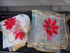 Vintage TULLE Christmas Table Runner  Tablecloth Poinsettia Gold Trim