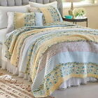 DITSY RUFFLE BLUE Full Queen QUILT SET  BLUE PINK YELLOW RAG COTTAGE FARMHOUSE