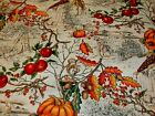 1 2 Yd Fall Harvest Fabric LAutomme Toile Large Allover Pumpkin Apples Acorns