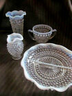 4pc LOT~Vintage MOONSTONE Hobnail Opalescent Milk Glass~Vase~2pt Dish~Sugar Bowl