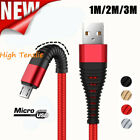 Braided Fast Data Sync Micro USB Charger Charging Cable Cord For Samsung Android
