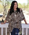 PLUS SIZE ANIMAL LEOPARD PRINT FLARE PEEP COLD SHOULDER SHIRT TUNIC USA 1X 2X 3X