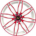 18x8 Red White G Line G1017 Wheels 4x100 4x45 +35 Fits Saturn SC1 SC2 Ion
