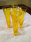4 Vintage Mid-Century YELLOW/AMBER CUT TO CLEAR Tall Footed Cocktail GLASSES