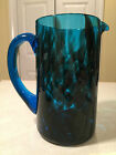 Vintage Hand Crafted MODERN ART GLASS PITCHER Blue  Black Spotted Smoke Glass