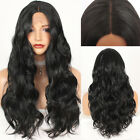 Long Black Hair Fashion Wavy Heat Resistant Synthetic Lace Front Wigs Natural
