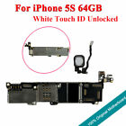 Original Motherboard Unlocked Main Logic Board Touch ID For iPhone 5S 64GB White