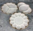Vtg Lot of 3 Fire King, Anchor Hocking Milk Glass w/ Gold Accent Serving Dishes