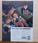 1940 magazine ad for Texaco - mother & children in car at 3 AM at Texaco station