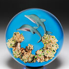 Gordon Smith pair of dolphins glass paperweight