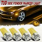 4x 194 T10 168 2825 Front+Rear Side Marker Amber LED Light for Jeep
