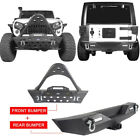 Matte Black Front + Rear Bumper w LED Spotlights for Jeep Wrangler 07 18 JK