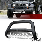 For 2007 2009 Jeep Wrangler JK Matte Blk SS Skid AVT Edge Bull Bar Grille Guard