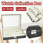 24 Grids Watch Leather Case Box Glass Top Display Jewelry Organizer Storage