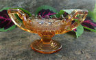 Cambridge Amber Glass Sawtooth Trophy Open Salt Dip Cellar Dish w Handles