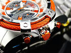 New Invicta 54mm Ltd.Ed. Bright Orange Bolt Quartz Chronograph SS Bracelet Watch