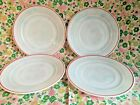 Set (4) 1940's Hazel Atlas Moderntone Platonite Lunch Plates White Red Stripe