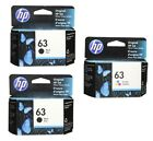 HP 63 3pack Combo 2 Black  1 Color Ink Cartridge NEW GENUINE
