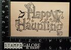 OUTLINES RUBBER STAMPS J907 XL HAPPY HAUNTING BATS WEB GHOST SPIDER WITCH 989