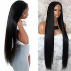 Long Black Silky Straight Lace Front Wigs Middle Part 30inch Synthetic Hair Wigs