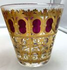 8 Culver glasses ruby red w/ 22k gold bar glasses old fashioned lowball signed