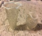 2 DIFFERENT HOBNAIL VASES  OPALESCENT RUFFLED  TOPS