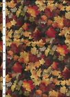 FALL HARVEST AUTUMN LEAVES COTTON FABRIC 1 BY DAVID TEXTILES 1 YARD X 42
