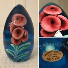Large Hand-Signed ROBERT HELD Oval Egg-Shaped Art-Glass Floral Paperweight