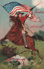 PFB DRAMATIC FOURTH OF JULY Patriotic EMBOSSED POSTCARD IMAGE Horseman US FLAG