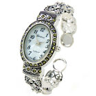 Silver Black Vintage Style Marcasite Crystal Oval Face Womens Bangle Cuff Watch