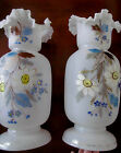 Pair 1800s Victorian Antique Bristol Glass Tall Mantel Vases Hand Painted