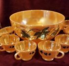 Vintage Anchor Hocking Punch Bowl 8 Cups Peach Lustre Ivy Pttn AHC9 Disc'td